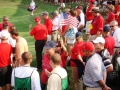 2008 Ryder Cup Valhalla 20.51American flag w Kenny Perry in foreground after Furyk defeats Jimenez think 16 hole