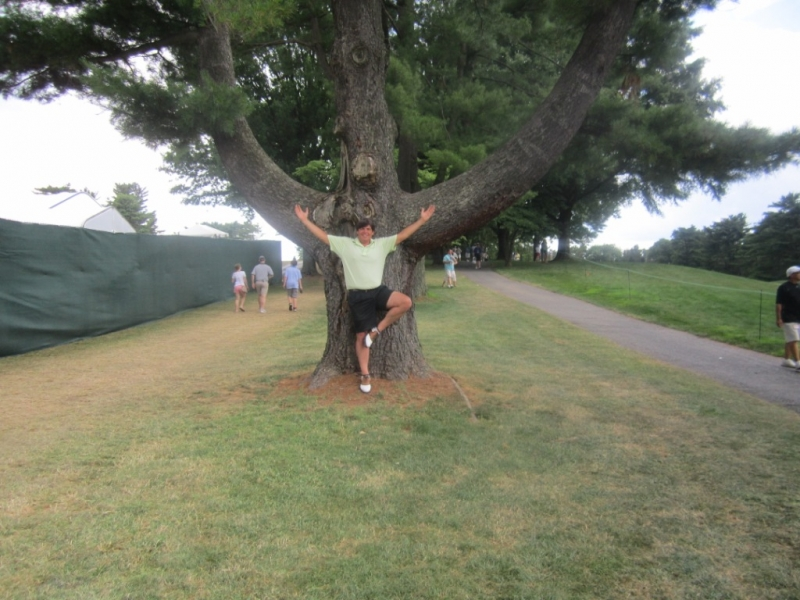 _Andy doing yoga tree w tree US Open
