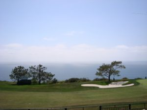 Sitting in the bleachers watching golf and gazing out at the Pacific Ocean is the joy of Torrey Pines!