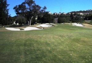 Dramatic bunkering on the par-5 second hole...