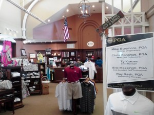 The pro shop at the PGA Village, note the American flag.