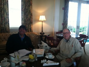 Sitting down with Pete Dye and his dog 'Sixty' for a morning of conversation.