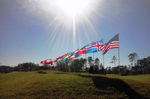 The Florida sun shines on the 19 flags represented in the WJGS event at the Slammer & Squire course in St. Augustine, FL.