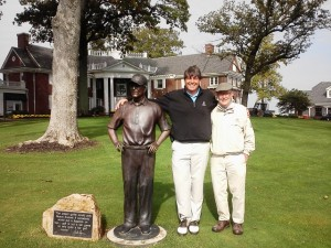 With Pete Dye and his statue near the Pete Dye Course clubhouse at French Lick.