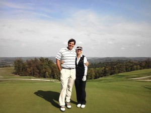 """Authors on the 9th green with yet another """"long view"""" behind them."""
