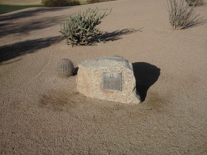 Another piece of golfing history at TPC Scottsdale. The rock or loose impediment that the gallery moved for Tiger Woods in the 1999 WMPO.