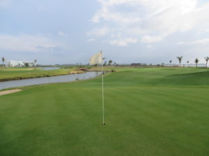 Water and sea on the second nine at Karibana...