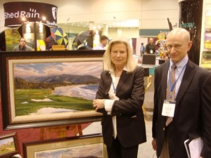 Linda Hartough with her older brother Dale at the 2010 PGA Show.