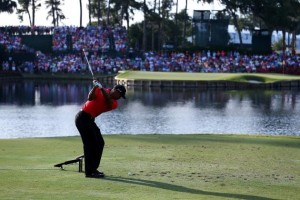 Tiger Woods' tee shot at the 17th hole on the Stadium Course at TPC Sawgrass. Photo Credit: Andy Lyons/Getty Images