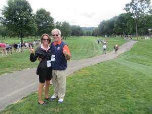 Honorary Observers Kathi & Dr. George Roberts showing good MoJo on the 13th hole.