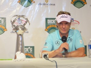 Bernard Langer was bogey-free and in possession of the trophy at the Dick's Sporting Goods Open.