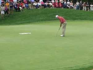 Kevin Sutherland's birdie putt on 9 green. Missed it to shoot 9-under on the front nine at En Joie GC.