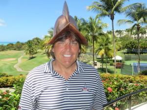 Wearing the El Conquistador helmet in Seth Henrich's golf shop.