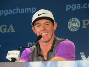 Rory is all smiles in the Media Center after winning his second straight Major Championship.