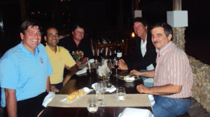 Flashback to 2011 visit. With my buddy Pedro Amengual, golf writer Mike Bailey, Stanley and Tito at a local restaurant. FYI Mike won our match that day but I evened the series in Texas... Match No. 3 TBD...
