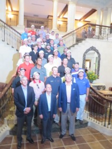 The golfers who earned their PGA TOUR card posing for a picture in the TPC Sawgrass Clubhouse.