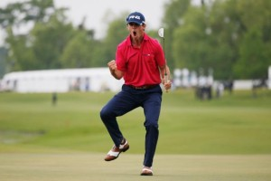 Horschel Rocket celebrating winning putt on the 18th looking more like a rodeo cowboy than tour astronaut! Photo Credit: Chris Graythe Getty Images