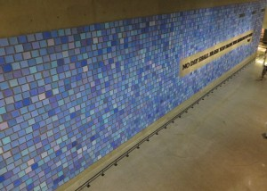 """""""No Day Shall Erase You From The Memory of Time"""" by Virgil, each tile is a different shade of blue for each of the 2,955 souls."""