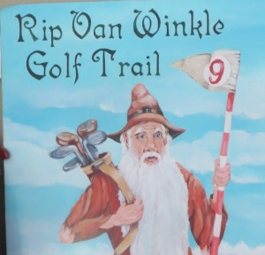 A close-up of Rip Van Winkle with his golf clubs. I look forward to returning next year and exploring his trail so more in between naps.