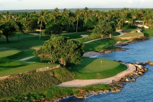 The 176-yard par-3 fifth hole is the first ocean front hole on the Teeth of the Dog. Photo Credit: Casa de Campo