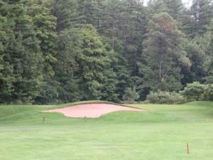 The golf course has many timeless features such as this deceptive bunker on the par-4 dog-leg-left 7th hole.