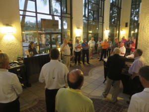 Claude Pardue (center) welcoming the golf writers and their guests to another Mystic Golf celebration in Myrtle Beach.