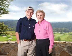 Alice & Pete Dye with the long view of their course at French Lick in the background.   PHOTO CREDIT: Dave Harner