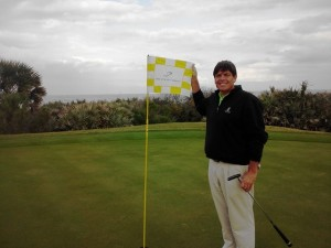 On the 9th green at Hammock Beach, part of the Salamander Resorts Legends of Golf Trail along with Reunion and Innisbrook.