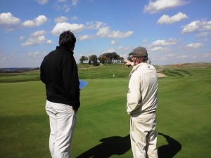 Pete Dye showing me the long view and his unmatched and insightful golf course architecture perspectives at the golf course that bears his name in French Lick, Indiana.