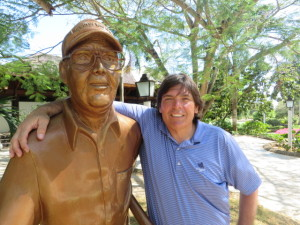 With Pete Dye's statue outside the Teeth of the Dog clubhouse.