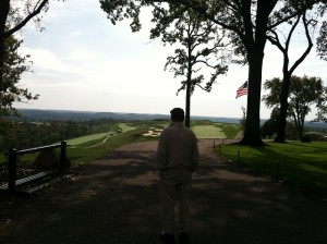 Pete Dye taking in the long view that he created at French Lick.