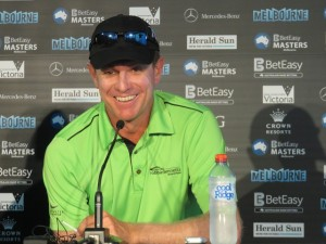 Michael Wright was one of four first round leaders. The good-natured Queenslander shot a 68 in Round 2 to take a 2-stroke lead in the Masters.