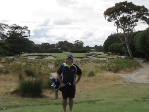 On the 128-meter (members tee) par-3 10th hole. I was smiling even before I made the ten-footer for a deuce!
