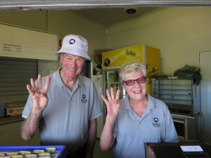 Pam and Andy, still the smiling Mr. & Mrs. Will Call on the final day of the 2014 Masters.