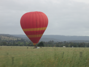 An early morning hot air balloon in the Yarra Valley Wine Region just north of Melbourne.
