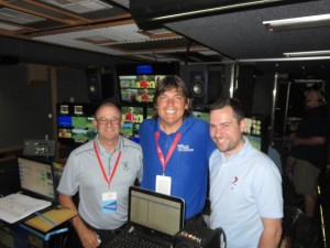 In the Seven production truck with producers John Evans (L) and Chris Jones (R). Everything the same except, of course, the camera switchboard was on the left!
