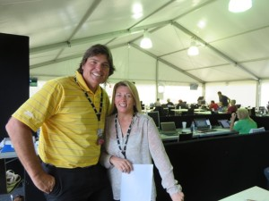 With Georgie Cox of Cox Marketing Solutions who did a great job running the Media Center at the Masters!