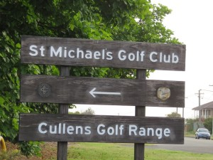 Sign for Cullens Golf Range near St Michaels Golf Club.