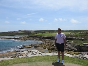 Standing on the tee of the signature par-3, 185- meter (202-yard), 6th hole at NSWGC.