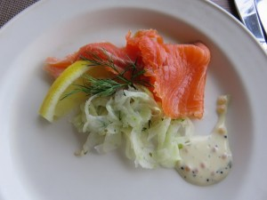 Smoked ocean trout, fennel with black caviar and dill mayonnaise dressing.