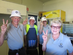 My volunteer mates in the car park signaling it is Round 2 of the 2014 Australian Masters.