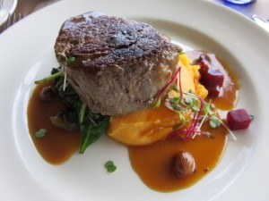 Beef tenderloin fillet, smoked sweet potato, cavolo nero, baby beets and sauternes jus.