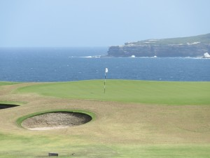 The 13th green. It seems like all the holes are on the ocean or have an exceptional ocean view.