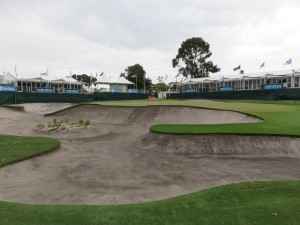 Huge & deep bunker guarding the left side of the 18th green. Should be an exciting finish come Sunday afternoon!