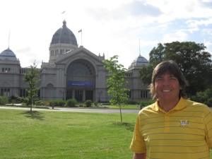 In front of the Royal Exhibition Building which hosted a World exhibition in 1880 and served as Australia's Parliament for the first three decades of the 20th century.