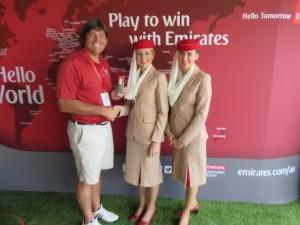 Putting awards presentation with Emirates stewardesses Joanna (L) and Christina (R).