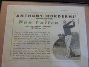 Advertisement for instruction and clubs from the 1937 & 1938 Western Australian Champions Dan Cullen.