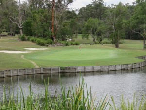 The signature 141-yard par-3 11th hole on the Gargurra Course.