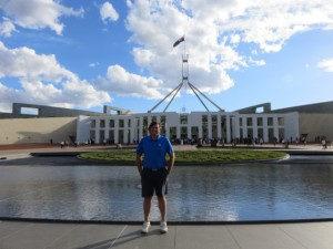 Outside Parliament House, the focal point of Canberra and the ACT.