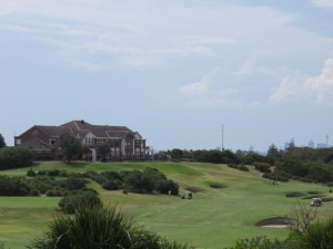 The home hole and the clubhouse at New South Wales Golf Club.